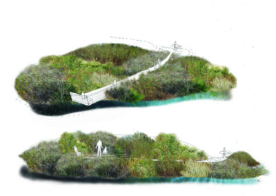 Malibu Lagoon overlook illustration